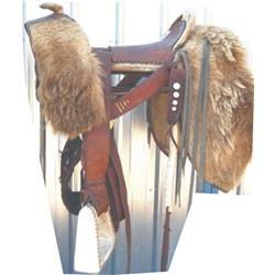 Buckner unique mountain man saddle with buffalo hide