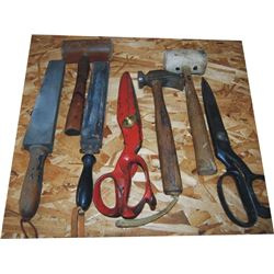 shears, hammers, stones