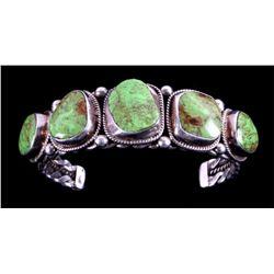 Navajo Sterling Silver and Gaspeite Bracelet