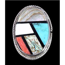Zuni Sterling Silver Inlaid Stone Mosaic Ring