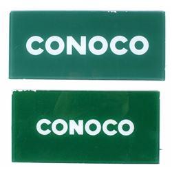 Conoco Gas Pump Glass Inserts (2) Green