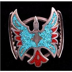 Navajo Sterling Peyote Bird Inlay Bracelet