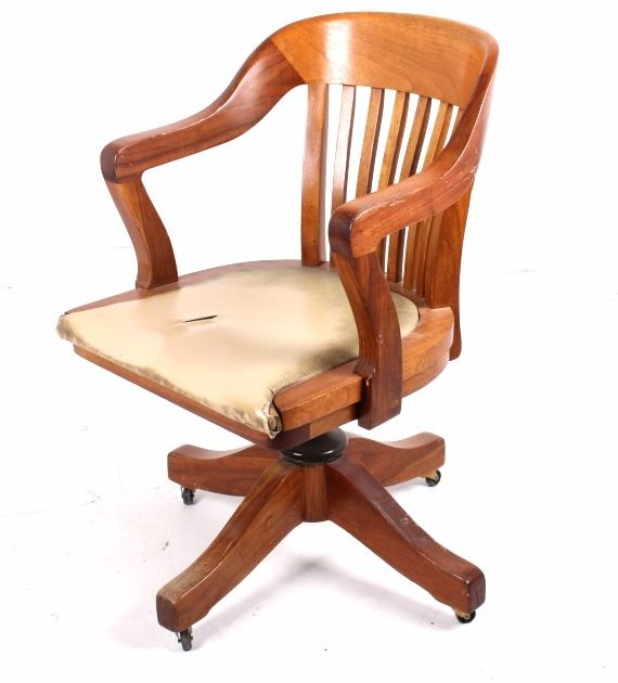 Marvelous Mission Style Oak And Leather Rolling Desk Chair Short Links Chair Design For Home Short Linksinfo