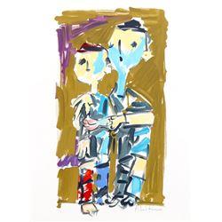 Pinchas Litvinovsky, Two Boys, Lithograph