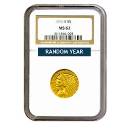 Common Date $5 Indian Gold Half Eagle MS62