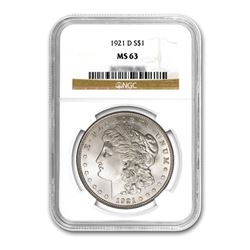 1921-D $1 Morgan Silver Dollar - NGC MS63