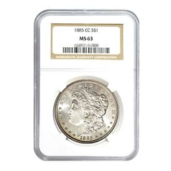 1885-CC $1 Morgan Silver Dollar - NGC MS63