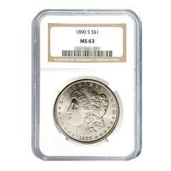 1890-S $1 Morgan Silver Dollar - NGC MS63