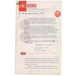 Beatles EMI Royalty Document