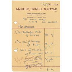 George Harrison Signed Receipt
