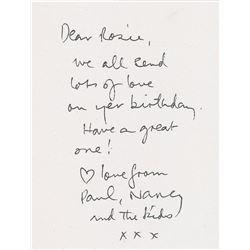 Paul McCartney Signed Birthday Card