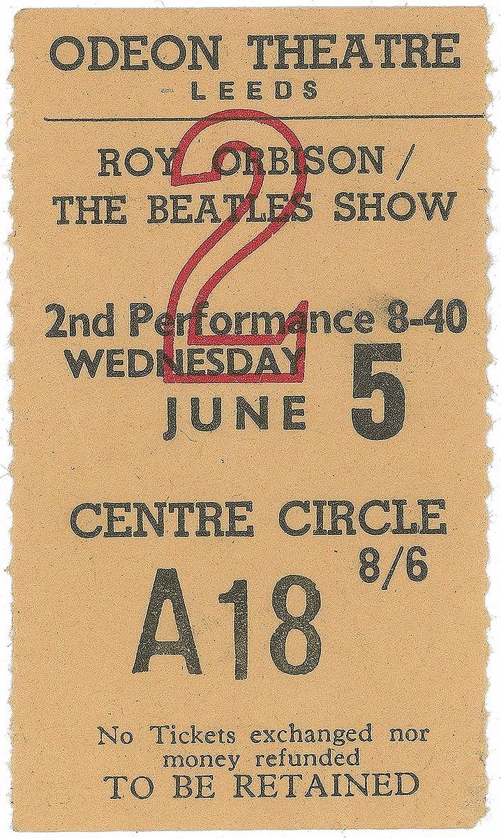 Beatles and Roy Orbison 1963 Leeds Ticket Stub