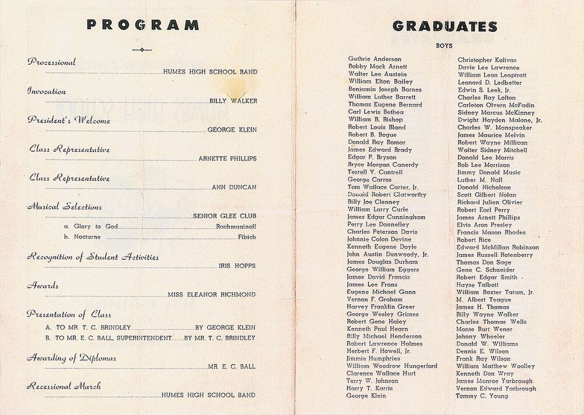 elvis presley high school graduation program