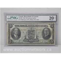 Royal Bank of Canada 1933 $5 Note Montreal,Quebec (Wilson-Holt)