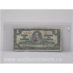 Bank of Canada $1 Note (1937) J/L 8300572 Gordon/Towers