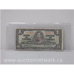 Bank of Canada $1 Note (1937) M/L 4576822 Gordon/Towers