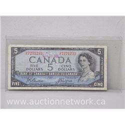 1954 DEVIL'S FACE $5 Note D/C 7271233 Beattie/Coyne