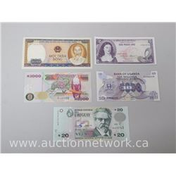 Lot of (5) World Bank Notes - Uruguay, Uganda, Colombia, Zambia and Vietnam