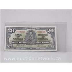 Bank of Canada $20 Note 1937 J/E 8935090 VF-F