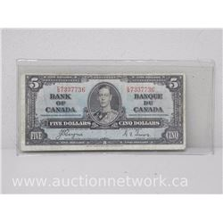 Bank of Canada 1937 $5 Note C/S 7337736 KE