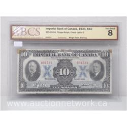 Imperial Bank of Canada 1933 $10 Note SAE - Phipps/Rolph VERY GOOD 8