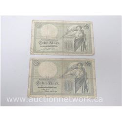 Lot of (2) Reichskaffenfchein Zehn Mark Notes