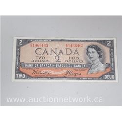 Bank of Canada DEVIL'S FACE $2 E/B 1466463 1954 Beattie/Coyne Note EF