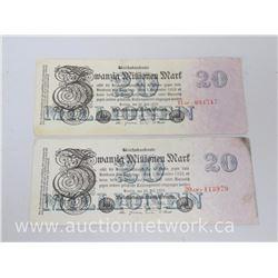Lot of (2) Berlin 1923 Banknotes