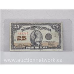 Dominion of Canada Twenty Five Cents (July 2, 1923) Note VG