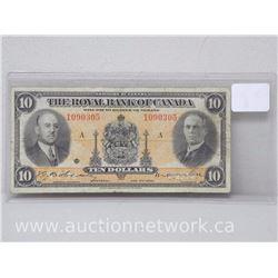The Royal Bank of Canada 1935 Ten Dollars $10.00 Note 1090305