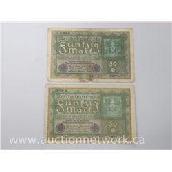 Set of 2 Reichsbanknotes (50 Mark)