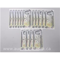 Lot of (15) UNC Bank of Canada 1973 Sequential $1 Notes