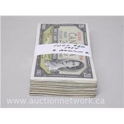 Bundle Lot of (100) $20.00 Bank of Canada 1954 Premium Notes