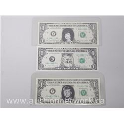 Lot of (3) Collector Portrait U.S. $1.00 Notes