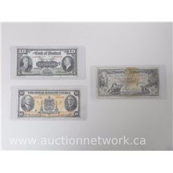 Set of (3) $10 Bank Notes (The Canadian Bank of Commerce, Bank of Montreal & Royal Bank of Canada)