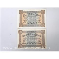 Lot of (2) Reichsbanknote 1,000,000 Mark Notes