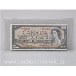 Bank of Canada $100 One Hundred Dollars Note Beattie/Rasminsky BJ 0648329
