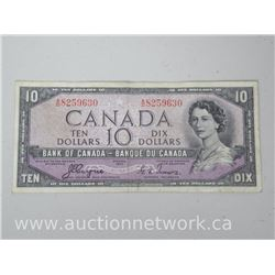 Bank of Canada $10 Ten Dollars DEVIL'S FACE 1954 VF Note (Coyne/Towers)