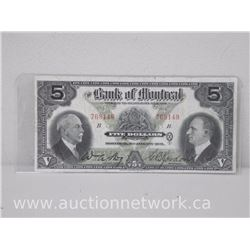 The Bank of Montreal $5 Five Dollars Note (Jan,2nd 1931)