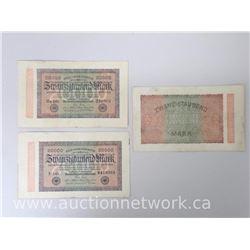 Set of (3) Reichsbanknotes 20,000 Mark