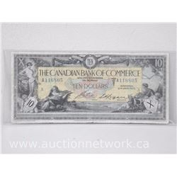 The Canadian Bank of Commerce $10 Ten Dollars Note Jan 2nd,1917