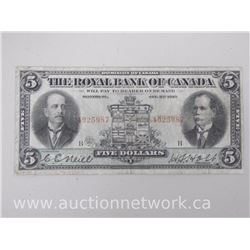 The Royal Bank of Canada Five Dollars $5 Note (Jan 2nd, 1913)