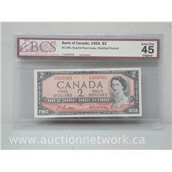 Bank of Canada 1954 $2.00 Two Dollars (Beattie/Rasminsky) Modified Portrait EXTRA FINE 45 *Bc-38b*