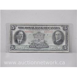 The Royal Bank of Canada $5 Five Dollars Jan 2nd 1927 Note