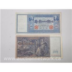 Lot of (2) Reichsbanknote 100 Mark Notes