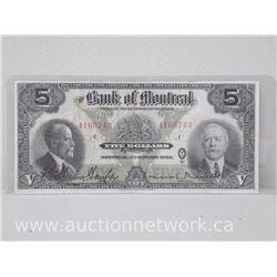 The Bank of Montreal Five Dollars $5 Note January 2nd, 1923
