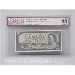 Bank of Canada 1954 $20.00 Twenty Dollars Note (Beattie/Coyne) Modified Portrait VERY FINE 30 Bc-41a