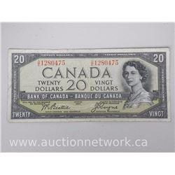 Bank of Canada 1954 $20.00 Twenty Dollars Note DEVIL'S FACE - D/E 1280475