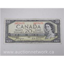 Bank of Canada 1954 $20.00 Twenty Dollars Note DEVIL'S FACE - A/E 6778175