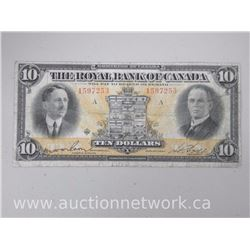 The Royal Bank of Canada Ten Dollars $10.00 Note (1597253) Jan.2nd 1927